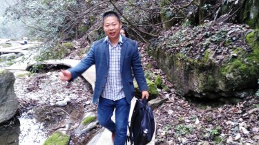 Li Zhao at a scenic spot in Xianyang last year. Li is one of three men working for China Labour Watch who have been arrested or gone missing.