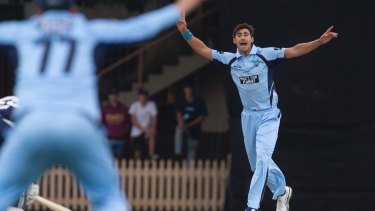 To no avail: Mitchell Starc appeals during NSW Blues' lost to Victoria.