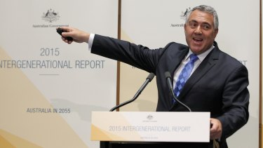 Seniors urged to stay at work: Treasurer Joe Hockey addresses the media during a press conference on the 2015 Intergenerational Report.
