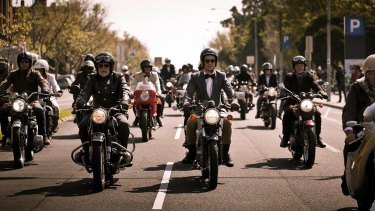 The Distinguished Gentlemen's Ride makes its way through Melbourne.