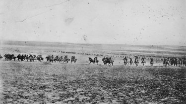 The charge of the 4th Light Horse Brigade at Beersheba in 1917.