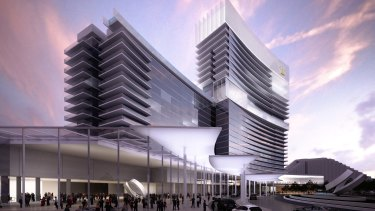 An artist's impression of the under-construction Crown Towers in Perth.