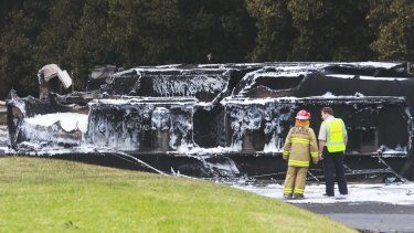 The aftermath of the crash at Mona Vale.