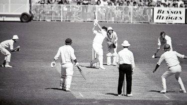 Centenary Test, Australia v England: March 17, 1977: David Hookes hits five consecutive fours off English bowler Tony Grieg.
