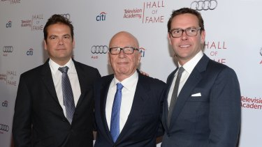 Rupert Murdoch with sons Lachlan, left, and James, right.
