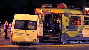 A van and tram collided on St Kilda Road on Saturday night.