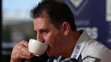 Fremantle coach Ross Lyon would no doubt prefer to be drinking from the premiership cup.