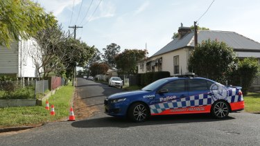 Police block Morgan Street at Horseshoe Bend in Maitland after a woman was shot dead.