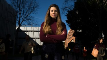 Jocelyn Dracakis, women's officer on the University of NSW Student Representative Council in Kingsford on Friday.