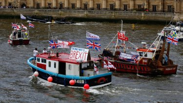 "A flotilla of ""leave"" and ""remain"" campaigners took to the Thames River in London last week."