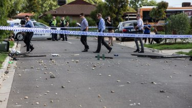 Police remained at the scene hours after the party. Some of their colleagues had been forced to retreat in the face of violence and stone-throwing.