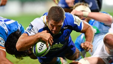 Try time:  Matt Hodgson scores during the round 13 Super Rugby match between the Force and the Blues at nib Stadium.