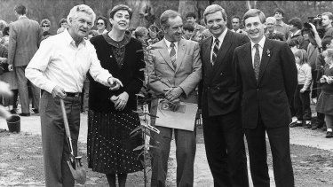 Bob Hawke plants the first of a promised one billion trees, with ACT chief minister Rosemary Follett, and the premiers of Victoria, NSW and SA - John Cain, Nick Greiner and John Bannon in 1989.