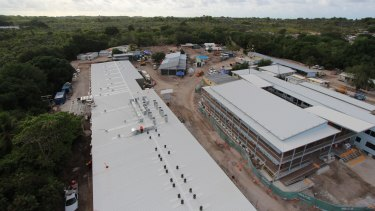 The Nauru Detention centre when it was being rebuilt after riots and fires damaged much of the structure.