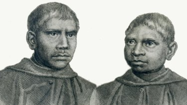 A scan of a drawing of John Dirimera, left, and Francis Conaci from the Archives of the Benedictine Community of New Norcia.