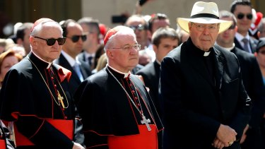 Cardinal George Pell, right, at the Vatican in 2014.