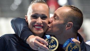 Gold medallists Bill May and Christina Jones.