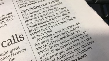 The letter in the West Australian on Friday morning.
