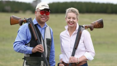 Liberal MP Ian Goodenough and Nationals senator Bridget McKenzie at the Canberra International Clay Target Club.
