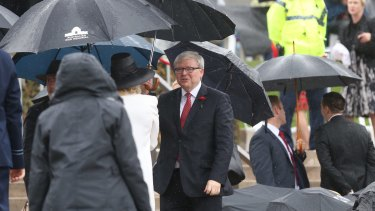 Mr Rudd and Mr Abbott later spotted each other in the crowd.