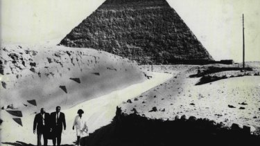 A team of archaeologists outside the ancient pyramid of Chephren at Giza in 1969.