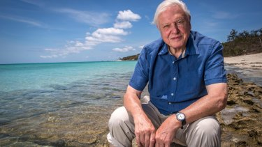 Sir David Attenborough at the Great Barrier Reef.