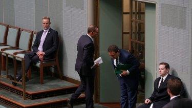 Former prime minister Tony Abbott leaves the House as Opposition Leader Bill Shorten  addressed the Close the Gap report.