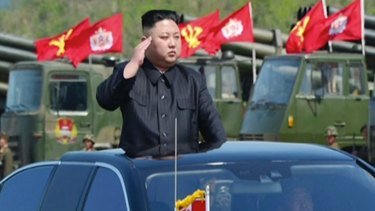 "Kim Jong-un at a ""combined fire demonstration"" held to celebrate the 85th anniversary of the North Korean army."