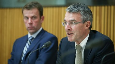 Liberal MP Dan Tehan and shadow attorney-general Mark Dreyfus at the hearing on the Counter-Terrorism Legistlation Amendment Bill before the parliamentary joint committee on Intelligence and security on Monday.