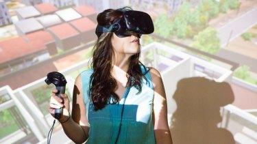 Property developer Kiara Salmon using virtual reality software.