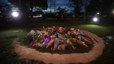 The make-shift memorial for Eurydice Dixon at Princes Park, Carlton.