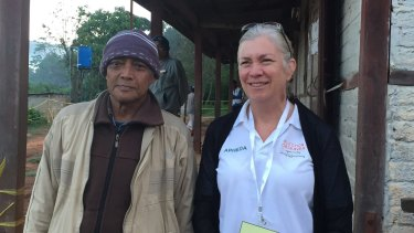 The author with a voter in Kalaw, Myanmar.