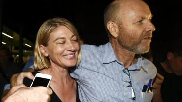 Channel Nine presenter Tara Brown and producer Stephen Rice after they were freed.