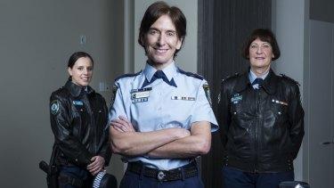 Junior officer Kayla Desvaux de Marigny (left), with Deputy Commissioner Cath Burn and Superintendent Doreen Cruickshank (right), the longest serving female officer in NSW.