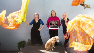Lisa Walker, Bambi Price and Sue Ramsay with dog Blossom. Price has started SeniorPreneurs to help the mature-aged with business ventures.