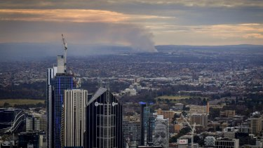 Smoke from the Coolaroo fire was visible from the CBD on Thursday.