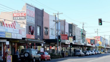 The low-rise shopping strip on North Road in Ormond, near the rail station.