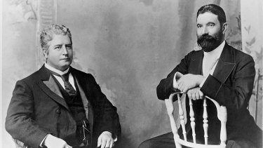 Two fathers of Federation: Edmund Barton and Alfred Deakin.