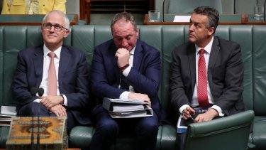 Prime Minister Malcolm Turnbull, Deputy Prime Minister Barnaby Joyce and Minister Darren Chester.