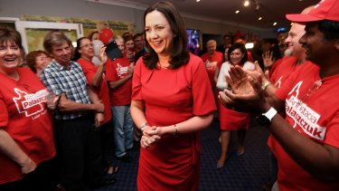 Annastacia Palaszczuk is congratulated by supporters as she edges towards retaining government in Queensland.