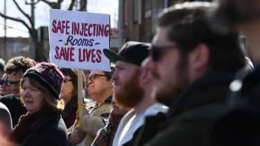A rally for safe injecting rooms in Richmond in August.