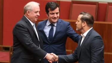 "Greens senator Peter Wish-Wilson, born in Singapore is congratulated by Nationals senator John ""Wacka"" Williams and Iran-born ALP senator Sam Dastyari."