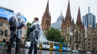 The wet weather continued in Melbourne on Saturday morning.