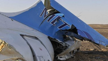 The tail of a Metrojet plane that crashed in Egypt, killing all 224 onboard.