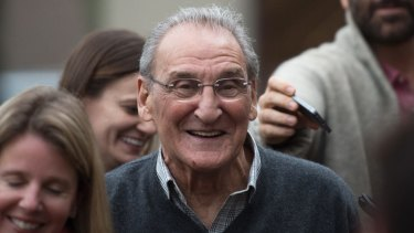 Vincent Asaro leaves Brooklyn federal court on Thursday, acquitted of charges he helped plan a legendary 1978 Lufthansa heist retold in the hit film <i>Goodfellas.</i>