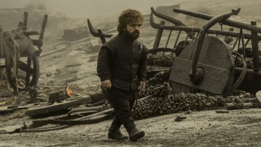 Peter Dinklage as Tyrion surveys the devastation left in the wake of the dragon Drogon.