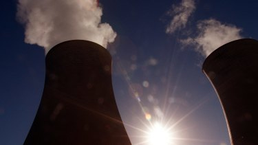 Cooling towers at the brown coal-fired Loy Yang power plant in Victoria's La Trobe Valley.