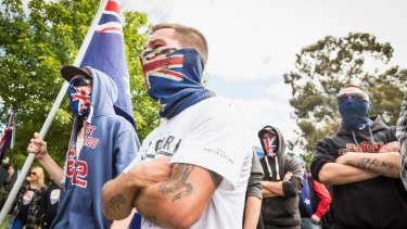 A Member of  Reclaim Australia  during simultaneous rallies between Reclaim Australia and Rally against Racism, the ideologically opposed groups in Melton.