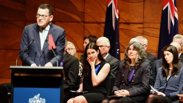 Premier Daniel Andrews speaks at the state funeral for Anthony Foster at the Melbourne Recital Centre.