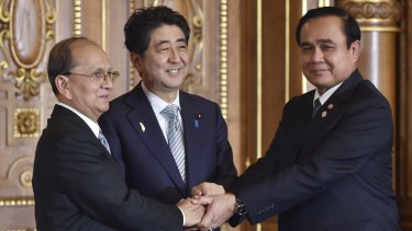 Thai Prime Minister Prayuth Chan-ocha, right, with Japanese PM Shinzo Abe (centre) and Myanmar President Thein Sein earlier this month.
